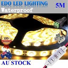 12V Warm White Flexible 5M 3528 SMD 300 Led Waterproof Led Strip Lights Car Boat
