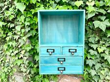 Vintage Wall floating Wood Storage Cabinet Cubes Shelving Rustic Drawer Racking