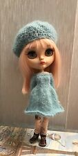 Blythe Doll Outfit-Handmade Knitted Dress And Beret Set - Made With Mohair Wool