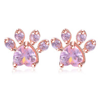 Rose Gold Plated Cat Paw Shape Stud Earrings With Pink Austrian Crystals Gift