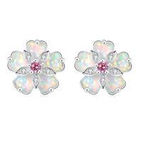 White Fire Opal Pink Topaz Zircon Silver Women Jewelry Gems Stud Earrings OH3901