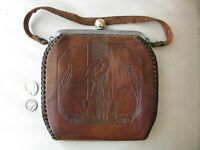 Antique Art Nouveau Deco Floral Hand Tooled Leather Suede Lined Purse HMS