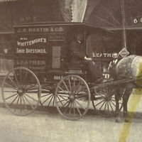 Antique 1900 Photo Martin Whittemore Leather Shoe Store Horse Wagon Newfoundland