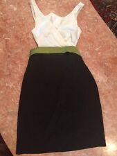 Women's/ Girls BETSY ANS ADAM SATIN BLACK/ Off White/ Green Open Back Dress 2