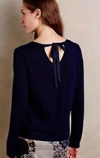 Anthropologie Sweater Moth Small Navy Blue Womens V Neck Bow Tie Back 4 6
