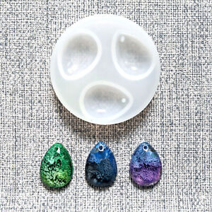 💧 3 DOMED TEAR DROP 💧 SILICONE RESIN MOULD MOLD JEWELLERY PENDANT MAKING UK