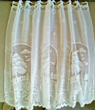 French Vintage  Small White  Lace Curtain Panel