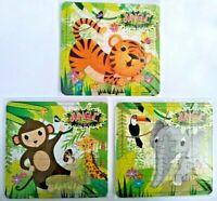 6 JUNGLE ANIMAL Jigsaw Puzzles Childrens Boys Girls Loot Party Bag Fillers Kids