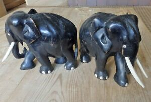 LARGE  PAIR OF ANTIQUE EBONISED  HAND CARVED WOODEN ELEPHANTS
