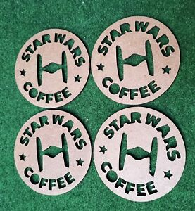 Wooden laser cut Star Wars coasters x 4