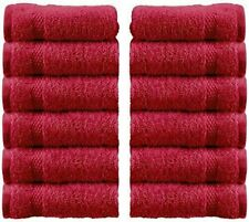 WhiteClassic Luxury Cotton Washcloths - 13x3 Hotel Face Towel | Burgundy 12/Pack
