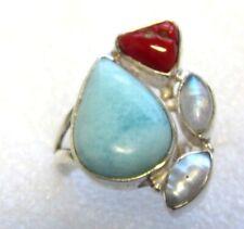 ECHTER NATUR LARIMAR RING Korallle MONDSTEIN Perle 925 Silber Gr 17