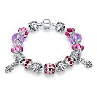 Damen Armband Bettelarmband Beads lila/rot Zirkonia 20cm pl. mit Sterlingsilber