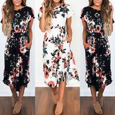 BOHO Women Summer Beach Short Sleeve Floral Dress Ladies Casual Party Maxi Dress