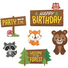 WOODLAND PARTY LARGE ANIMAL CUTOUTS WALL DECORATIONS PACK OF 6