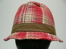RED PLAID - MEDIUM SIZE FEDORA TRILBY STYLE CAP HAT!