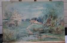Leonard Ochtman  (1854 - 1934) Spring Landscape- Watercolor- Guaranteed Original