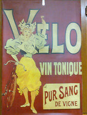 "Velo Vin Tonique wine Advert. Poster Canvas 29""x19"" BIG, prewar bicycle in pic?"