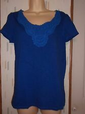 St.John's Bay Woman's M Blue Short Sleeve 100% Cotton Knit Top