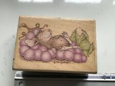 HOUSEMOUSE GRAPE DREAMS WOODEN BACKED RUBBER STAMP USED HOUSE MOUSE