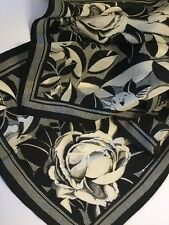 Vintage Oblong Black And White Silk Scarf Lightweight Flowers Roses 10 x 52 Long