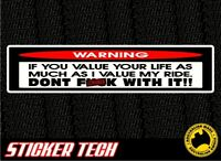 WARNING DONT TOUCH MY RIDE STICKER DECAL 4 HARLEY DAVIDSON SOFTAIL SPORTSTER