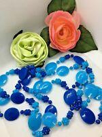 Vintage 50's Hong Kong Lucite Plastic Multi Color Blue Flowers Necklace Flapper