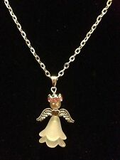 """Guardian Angel Pendant 16"""" Necklace With Pink Rhinestone Halo, Silver Plated"""