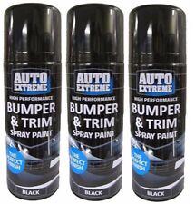 3 x Black Plastic Bumper & Trim Spray Cans Restorer Car Bike Auto Paint 200ml.