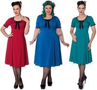 Hell Bunny Alveira 40s Wartime Vintage Rockabilly Pinup Tea Dress Size XL-4XL P