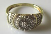 Secondhand 9ct Yellow Gold Multi-Cut Diamond Raised Cluster Ring Size L.