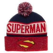 Superman Reflective Cuff Beanie Hat - DC Comics Red White Blue Pom S Logo Shield