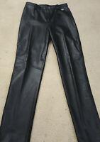 Harley Davidson Womens Size 8 30X33 Black Leather Lined Nylon Back Pants