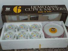 Tognana White w/Pastel Porcelain China Demitasse Cup & Saucer Set Tea Espresso