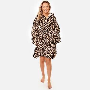 Dreamscene Leopard Print Oversized Hoodie Blanket Wearable Sherpa Fleece Throw