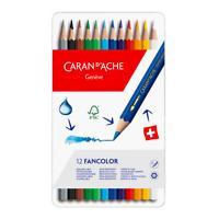 Caran d'Ache Fancolor 12 Water Soluble Colour Pencils Artist Sketching Tin Set