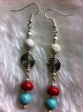 Coral Turquoise Earrings Silver Boho Beach Festival New Handmade