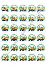 30  Personalised minions Cake Toppers 40mm Premium rice paper