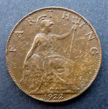 GREAT BRITAIN 1922 FARTHING  A REAL BEAUTY  HIGHER GRADE  UNC