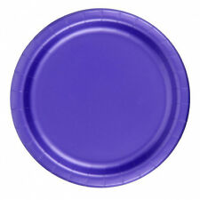 "24 Plates 6 7/8"" Paper Dessert Plates Wax Coated - Purple"