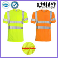 Hi Vis T Shirt ANSI/ISEA Class 3 Road Work Safety Short Sleeve High Visibility