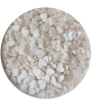 50g White Glimmer Hearts Edible Cake Confetti Sprinkles