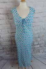 """Jasper Conran lined midi dress Size 14 42 bust 38"""" blue white floral holiday"""