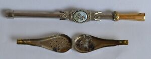 Vintage Hinged TEA INFUSER Spoon /Straw Combo - Argentina Horse Cowboy Lasso
