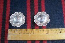 Vtg PAIR Sterling Silver 1 1/4 Plain Edge Flower Concho Western Headstall Bridle