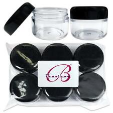 6 Pieces Beauticom 30G/30ML Clear Plastic Refillable Jars with Black Round Lids
