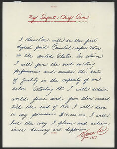 BRUCE LEE Signed Note - KUNG FU Champion and Actor - preprint