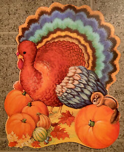 Vtg Excellent Eureka USA Thanksgiving Diecut Wall Decor Turkey 2 sided cut out