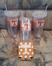 3 Tennessee Volunteers 20 oz Mug Tailgate Tumblers w/ Straw & 1 Can Coolie
