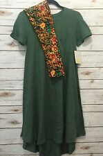 LuLaRoe Outfit XXS Heathered Teal Green Carly & OS Leggings Black Floral NWT 2XS
